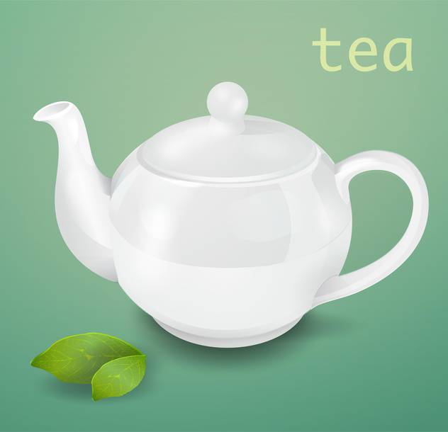 Vector illustration of white teapot on green background - Free vector #129333