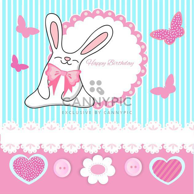 Vector greeting Birthday card with cute bunny and butterflies - Free vector #129353