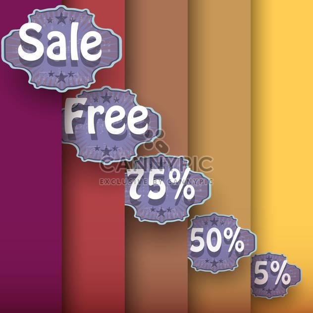 Vektor-Reihe von Jahrgang Verkauf Etiketten auf gestreiftem Hintergrund - Kostenloses vector #129363