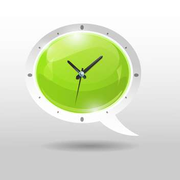 Vector illustration of green clock in speech bubble style - Free vector #129383