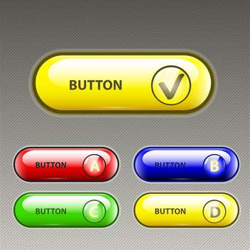 Vector set of five colorful web buttons on gray background - бесплатный vector #129393