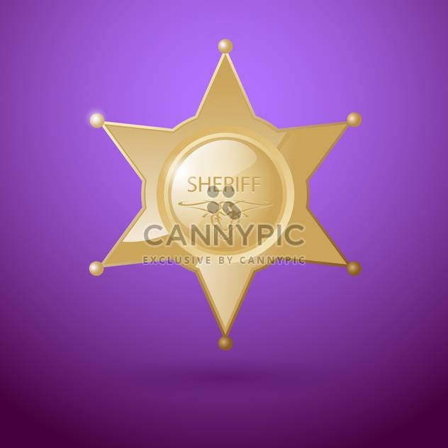 Vector illustration of sheriff star badge on purple background - Free vector #129413