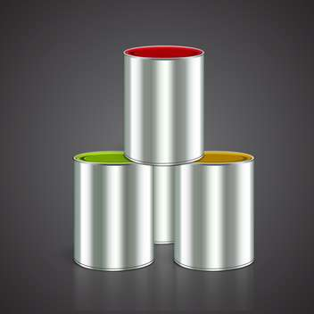 Three buckets of yellow, red and green paint on black background - vector #129423 gratis