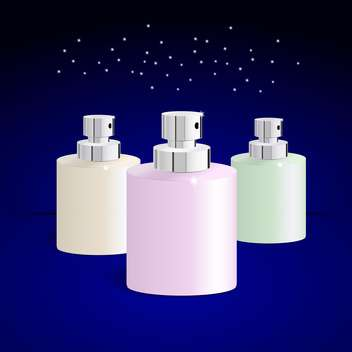 Vector illustration of perfume bottles on blue background - vector gratuit #129433