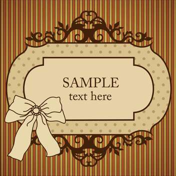 Vector vintage frame with bow on striped background - бесплатный vector #129453
