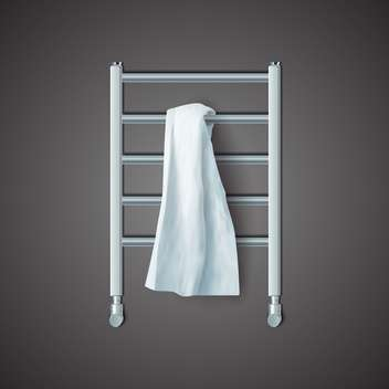 Vector illustration of white towel on radiator on black background - Free vector #129513
