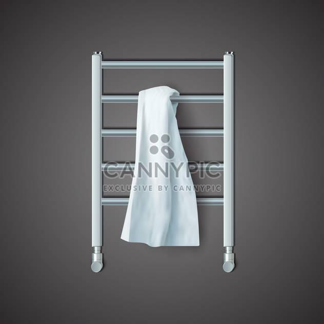Vector illustration of white towel on radiator on black background - Free vector #129513