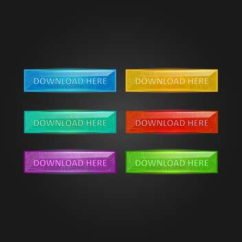 Vector set of colorful glowing download buttons on black background - vector gratuit #129523
