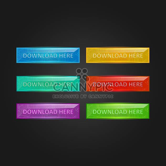 Vector set of colorful glowing download buttons on black background - Free vector #129523