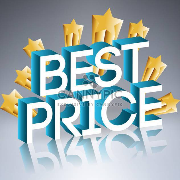 Vector illustration of best price sign with golden stars with reflection on gray background - Free vector #129613