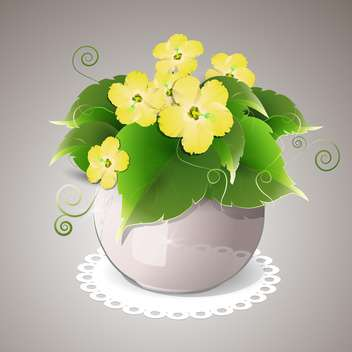 Vector illustration of spring yellow flowers in pot - vector gratuit #129643