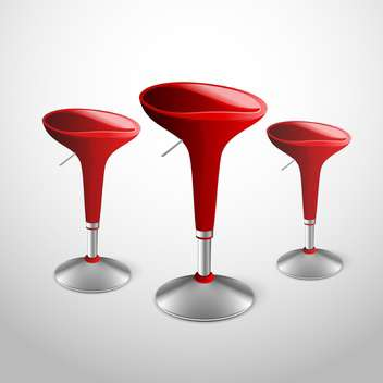 Vector illustration of red modern bar stools on gray background - Free vector #129653