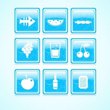 Vector set of blue food icons on square buttons collection - vector #129673 gratis