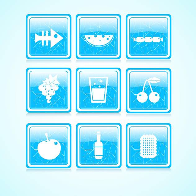 Vector set of blue food icons on square buttons collection - Free vector #129673