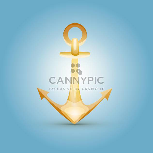 Vector illustration of yellow anchor on blue background - Free vector #129713