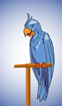 Vector illustration of blue parrot sitting on stick - vector gratuit #129733
