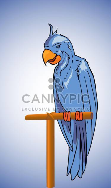 Vector illustration of blue parrot sitting on stick - Free vector #129733