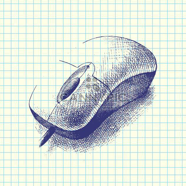 Vector hand drawn illustration of computer mouse doodle on checkered background - Free vector #129743