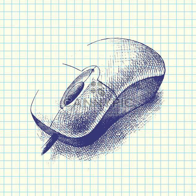 Vektor handgezeichnete Abbildung von Computer-Maus-Doodle auf karierten Hintergrund - Kostenloses vector #129743