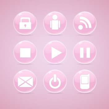 Vector set of pink glossy media buttons on pink background - Free vector #129783