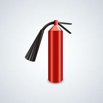 Vector illustration of red metal glossiness fire extinguisher on gray background - Free vector #129843