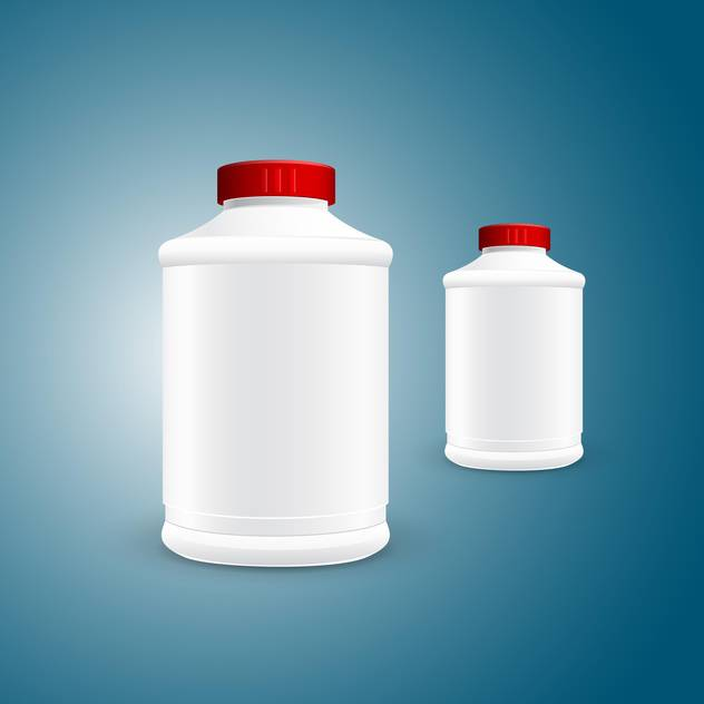 Vector illustration of two white plastic jars on green background - vector #129853 gratis