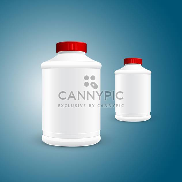 Vector illustration of two white plastic jars on green background - Free vector #129853
