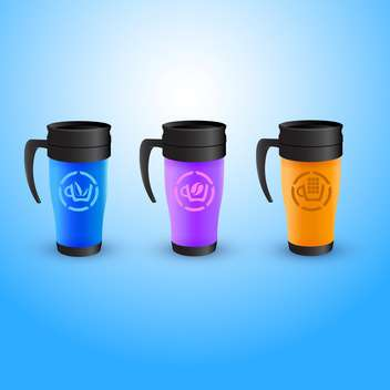 Vector illustration of three colorful thermos coffee cups on blue background - vector gratuit(e) #129873