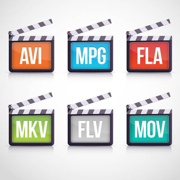 Colorful vector video set of multimedia clapboard icons - vector #129893 gratis