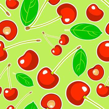 Vector green seamless background with cherries and leaves pattern - Free vector #129913