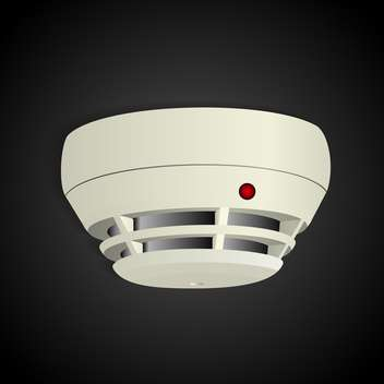 Vector illustration of smoke detector on black background - Free vector #129943