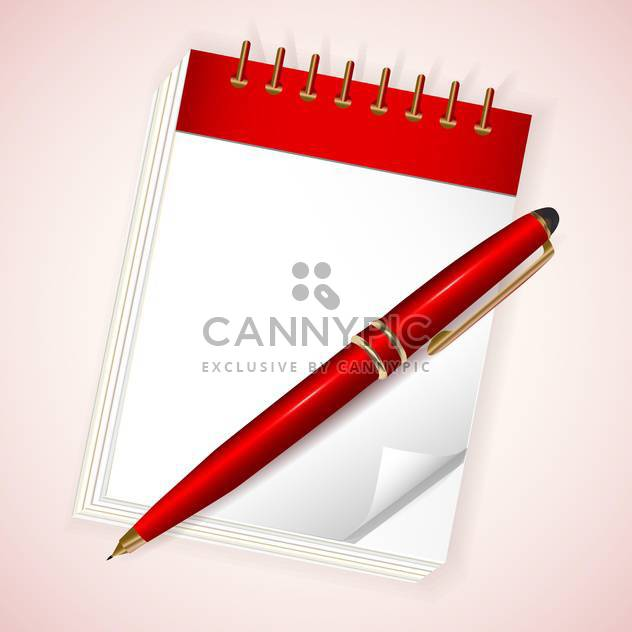 Vector illustration of red notebook with pen on light pink background - Free vector #130003