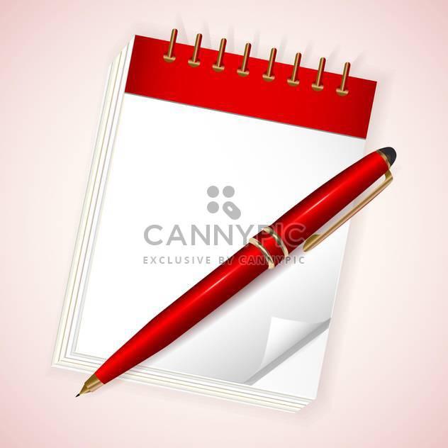 Vektor-Illustration der rote Notizbuch mit Stift auf hellen rosa Hintergrund - Kostenloses vector #130003