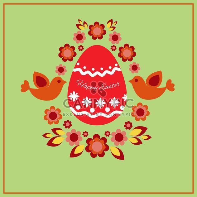Glückliches Ostern Grußkarte mit dekorativen Ei, Vögel und Blumen - Kostenloses vector #130043