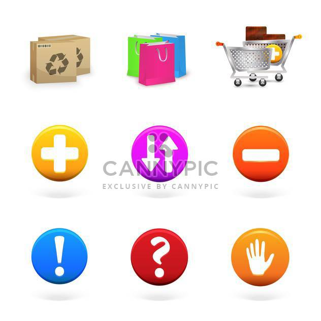 Vector collection of shopping and commerce icons - Free vector #130103