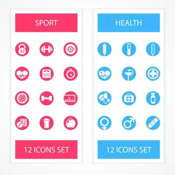 Health and Fitness icons set isolated - vector #130183 gratis