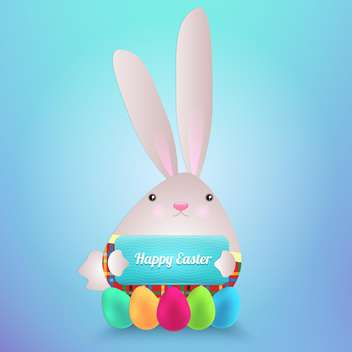 happy easter rabbit with eggs - vector #130293 gratis