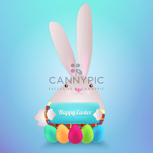 happy easter rabbit with eggs - Free vector #130293