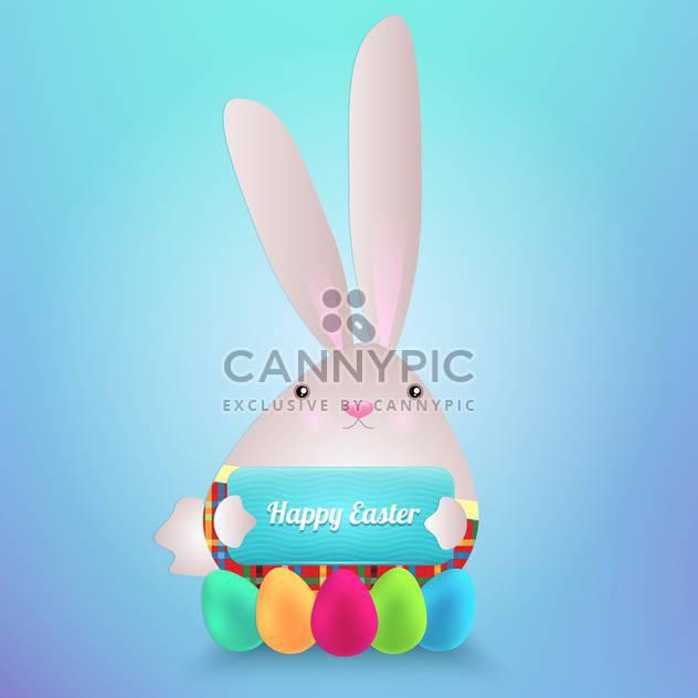 Glückliches Ostern Hase mit Eiern - Kostenloses vector #130293