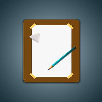 Blank open album with pencil - vector gratuit #130393