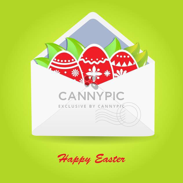 Vector Happy Easter greeting card with eggs in envelope - Free vector #130533