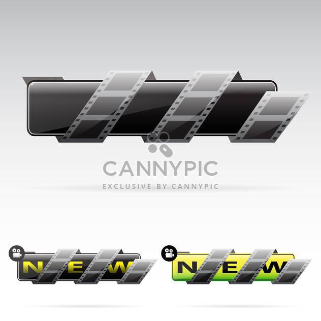 black banners with film tape on grey background - Free vector #130633