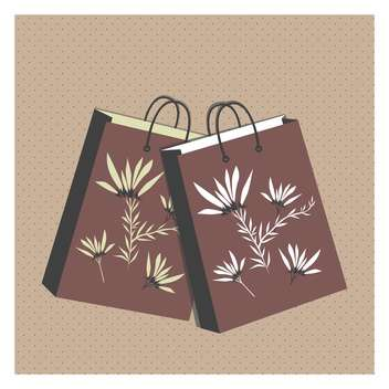 vector illustration of floral shopping bags on brown background - vector gratuit #130723