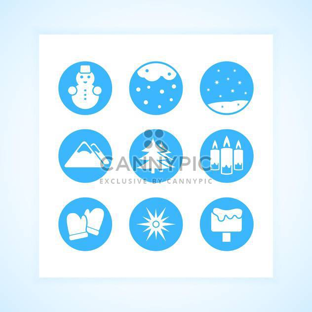 Winter round shaped icons set on white background - Free vector #130743
