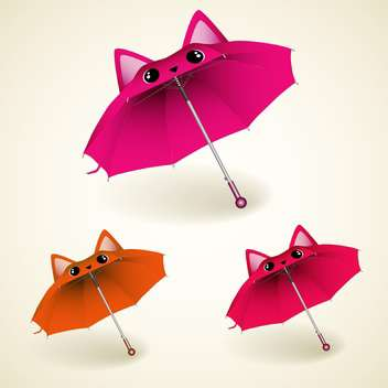 vector set of kitty umbrellas on white background - бесплатный vector #130753