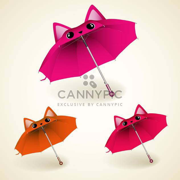 vector set of kitty umbrellas on white background - Free vector #130753
