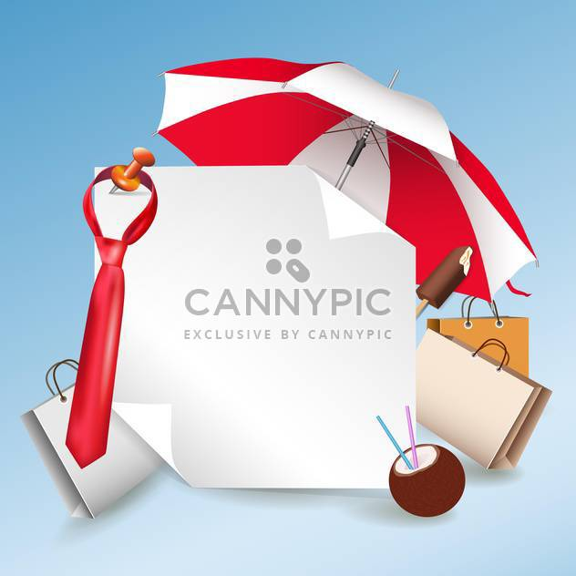 vector illustration of white paper with beach umbrella and shopping bags - Free vector #130763