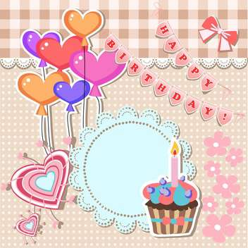 vector illustration of birthday card with text place - бесплатный vector #130793