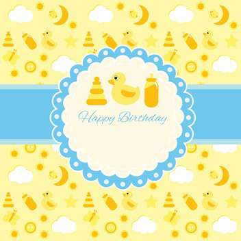 Vector cute birthday card for children - vector gratuit #130873