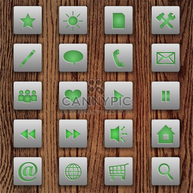 Vector set of web buttons on wooden background - Free vector #130903